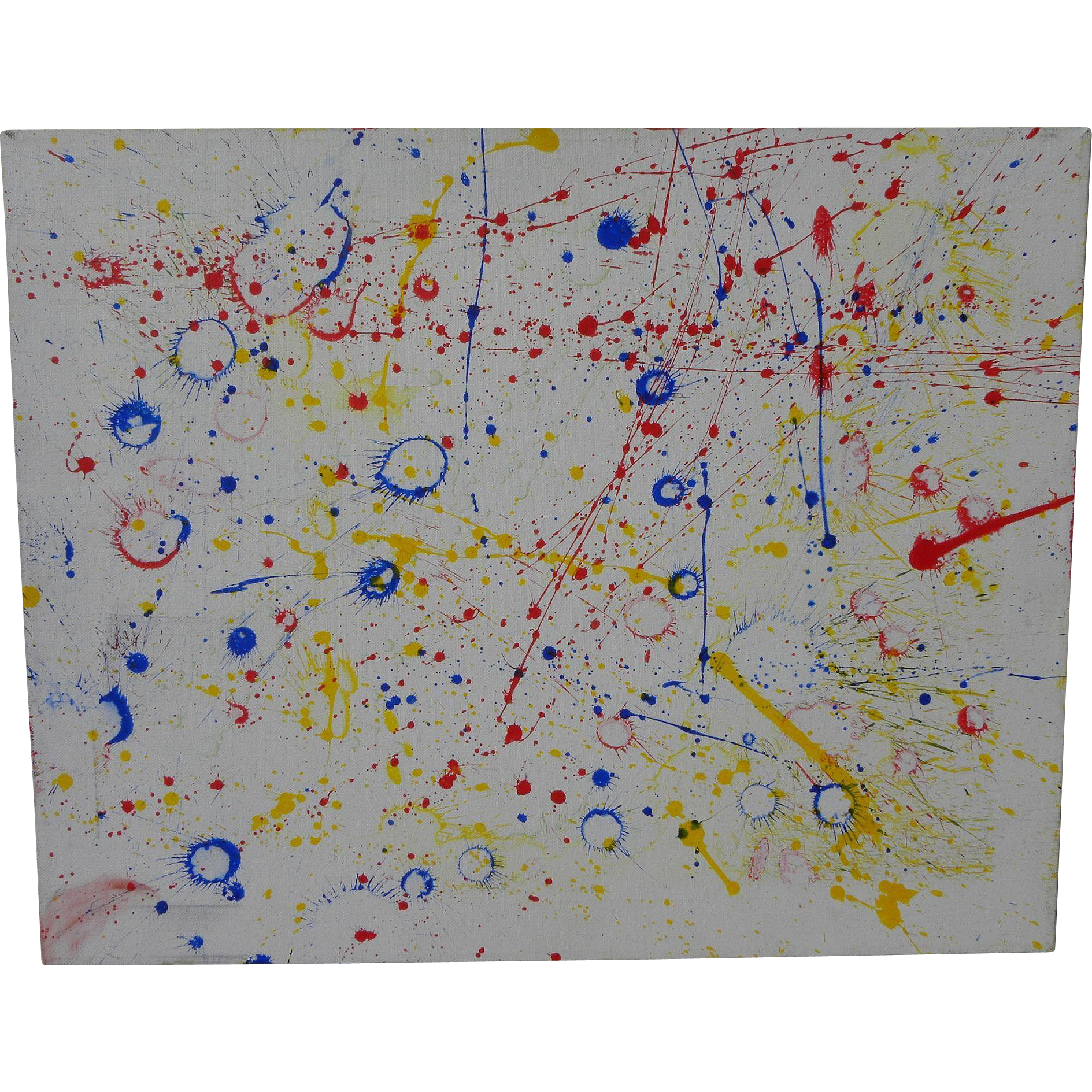 Contemporary abstract drip painting in style of Sam Francis