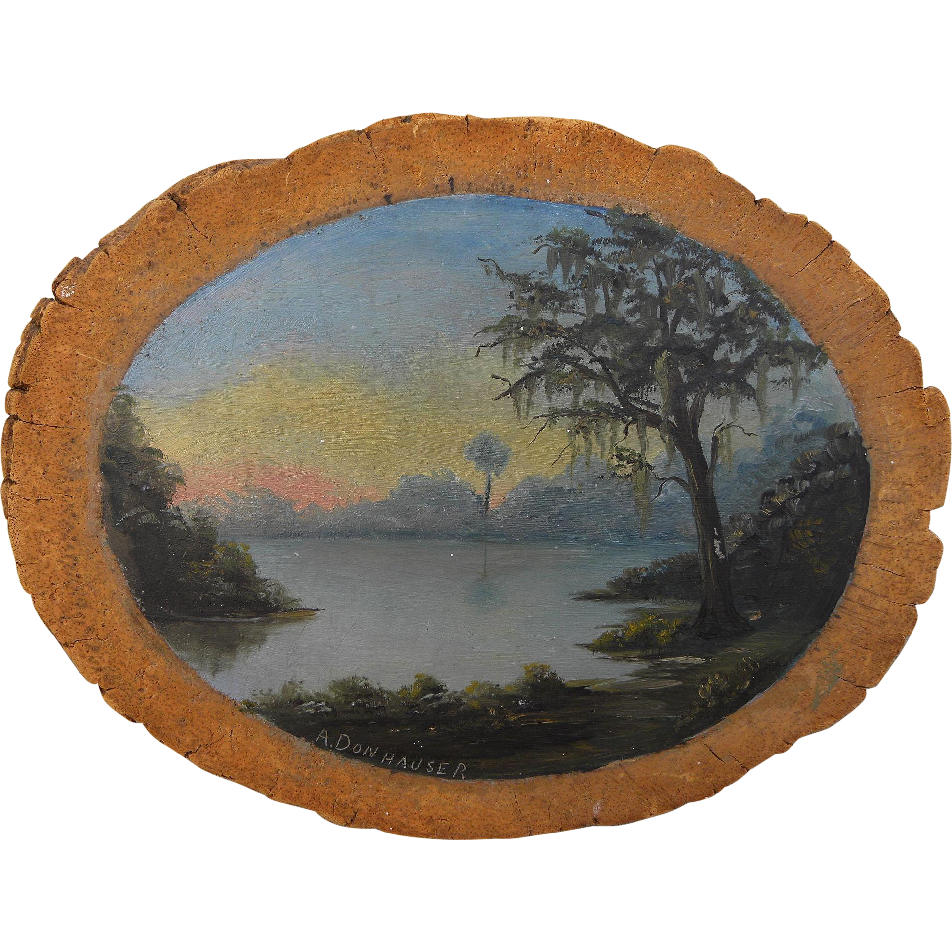 Southern American art painting of moss-laden tree by swamp or lake signed A. Donhauser