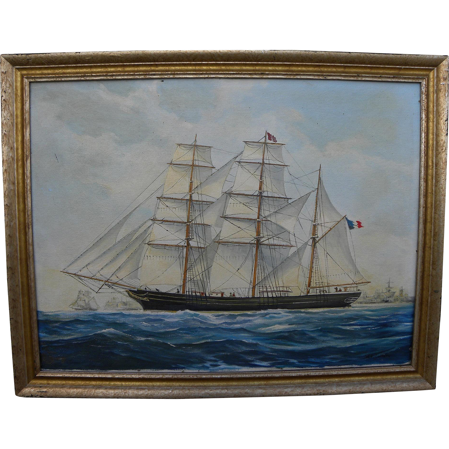 WENDELL F. COLLUM (1896-) detailed painting of clipper ship by noted Cape Cod marine artist