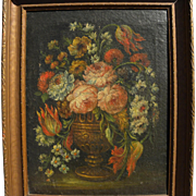 19th century floral still life painting on coarse canvas in style of earlier centuries