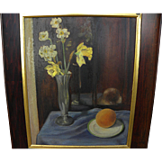 Still life painting of jonquils and daffodil in glass vase on a table top signed G. FREEMAN