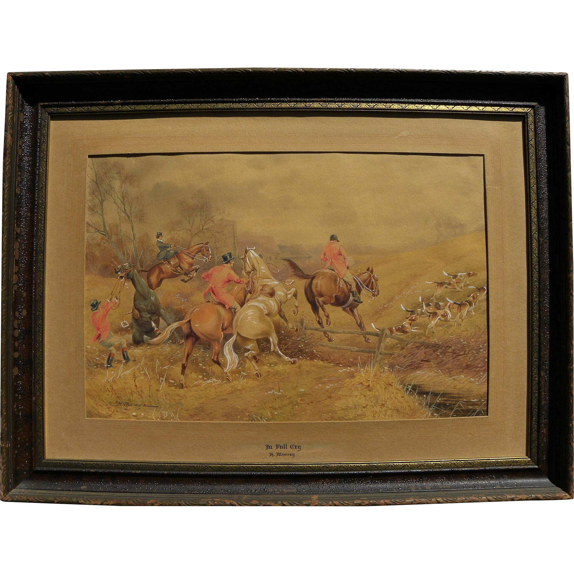 HENRY MURRAY (19th century English) detailed fine watercolor of equestrian hunt scene with dogs