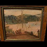 California art 1961 painting of Morro Bay harbor by artist Mary Harrington