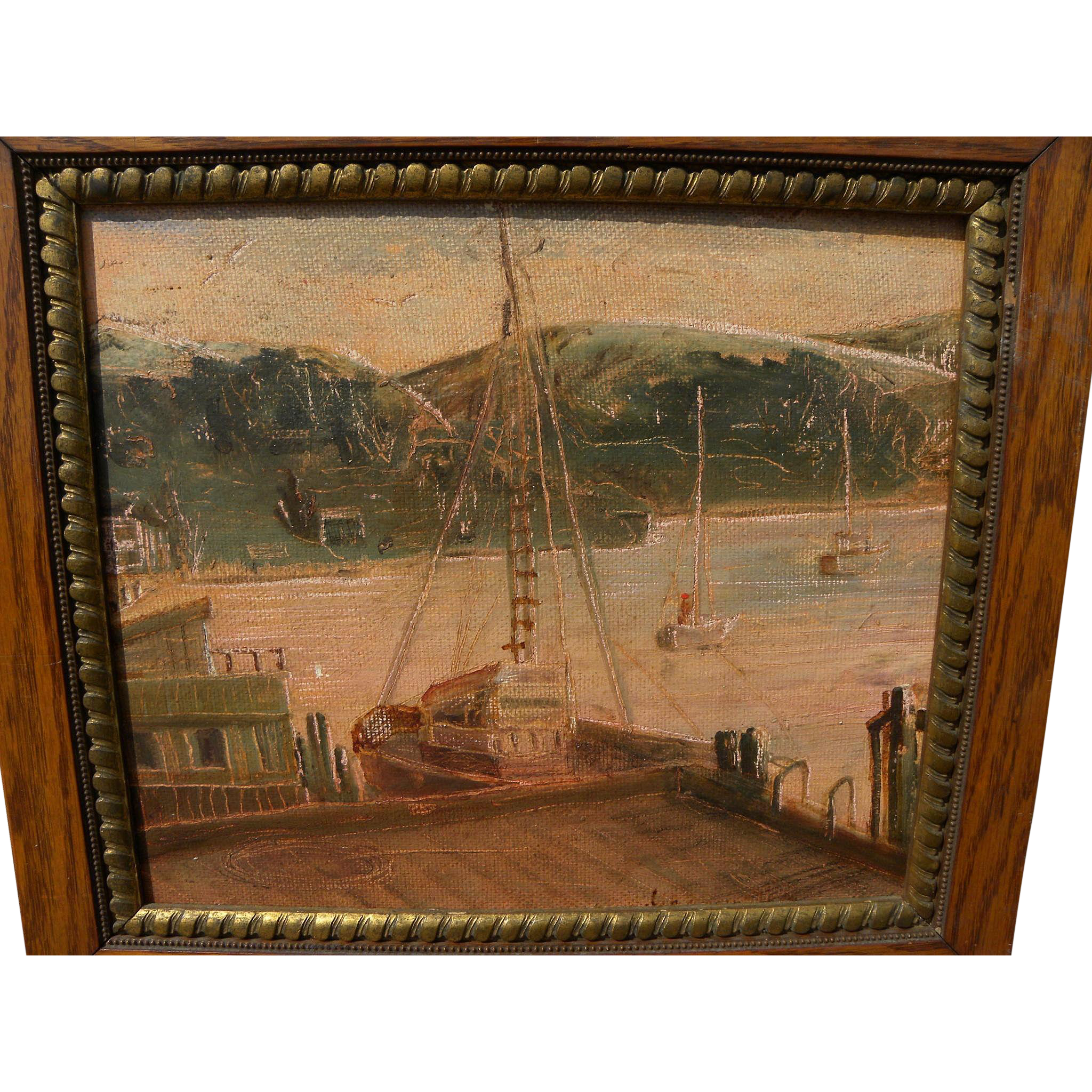 California art 1961 painting of Morro Bay harbor by artist Mary Harrington