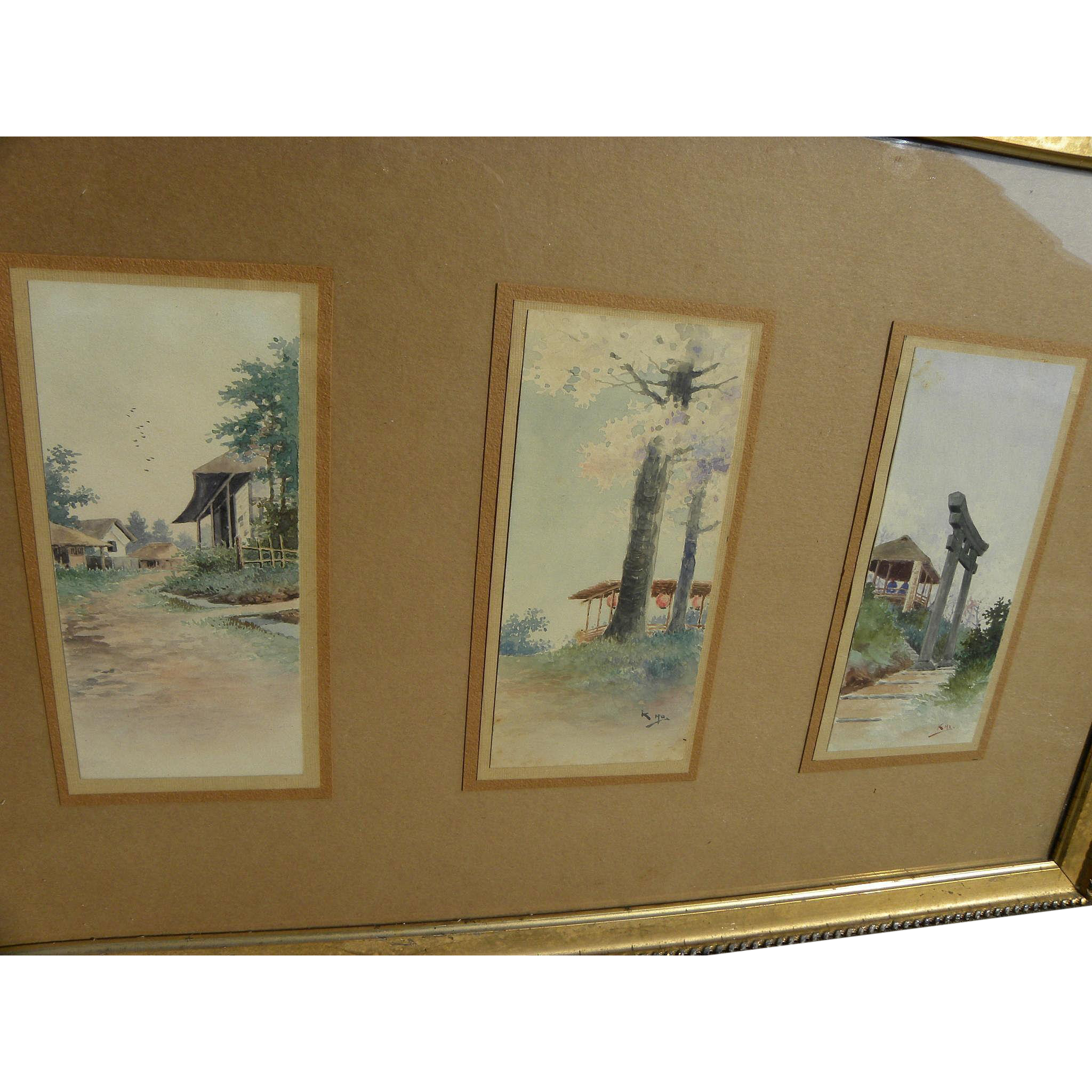 Three signed vintage Japanese watercolor paintings mounted as one