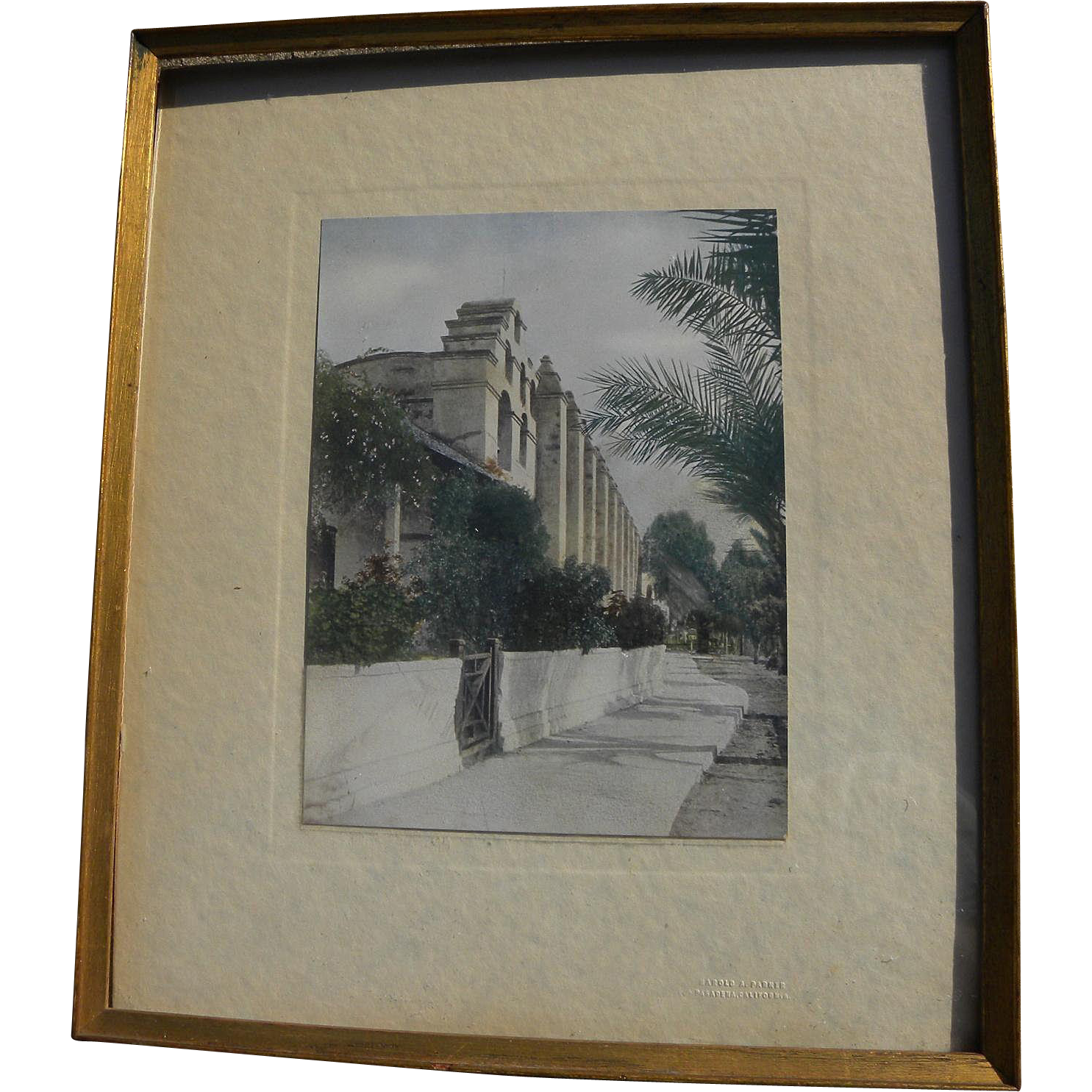 California memorabilia tinted vintage photo of Mission San Gabriel
