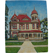 Small oil painting of gingerbread late Victorian house