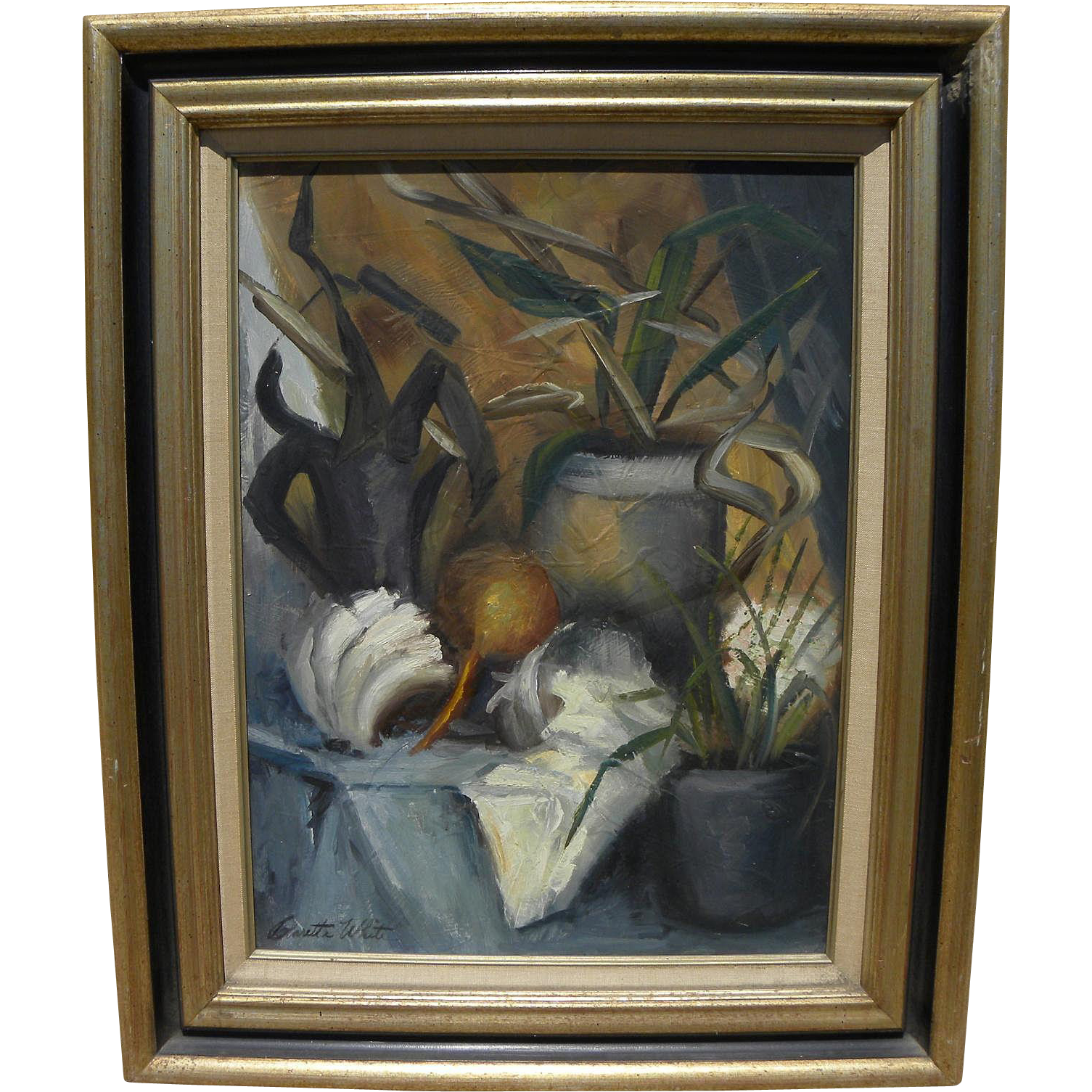 CLARETTA WHITE (c. 1915-2002) impressionist still life painting by California artist