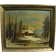 American 19th century primitive winter landscape painting