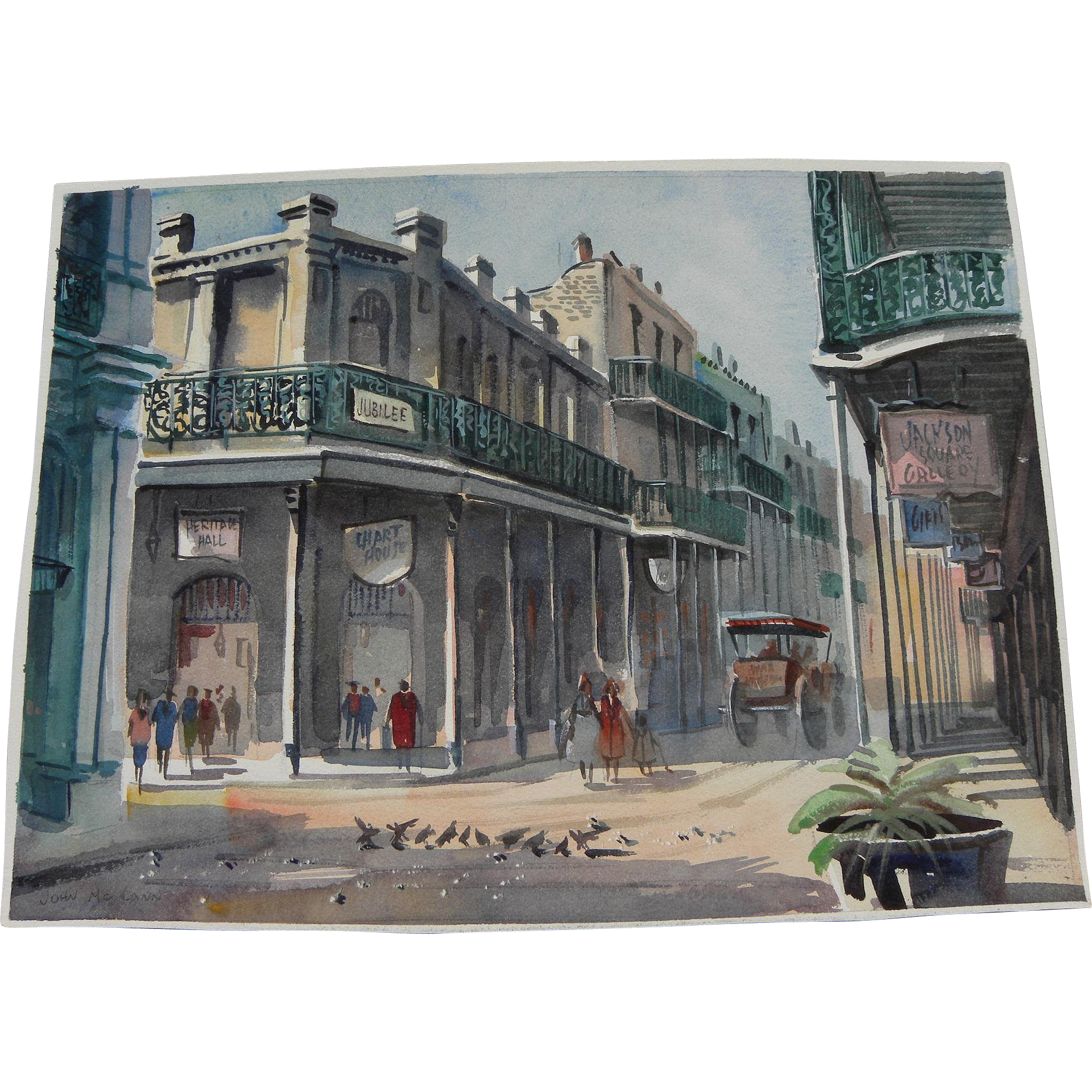 "JOHN ""JACK"" McCANN (1925-2011) original watercolor of New Orleans French Quarter by noted local artist"