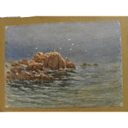 Old watercolor painting of coastal rocks signed T. G. Stower
