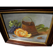Old pastel still life drawing including grapes and orange
