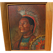 Painting of Plains Indian signed LEE WILLKE, circa 1950's