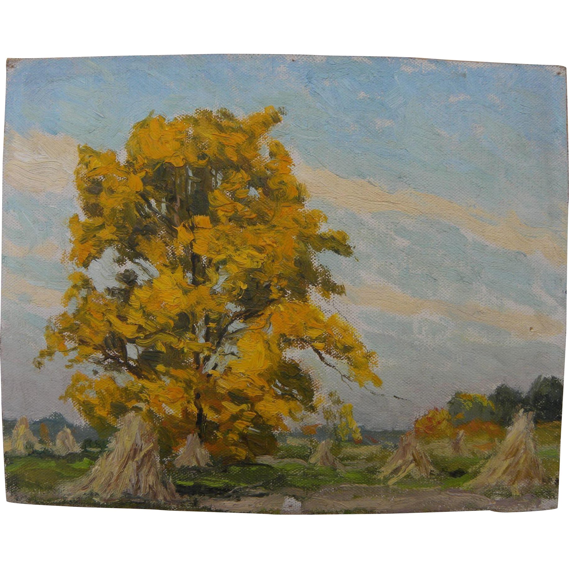 American 1939 impressionist painting of autumn tree and haystacks