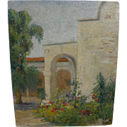 Vintage California art plein air painting of Pomona College, Claremont