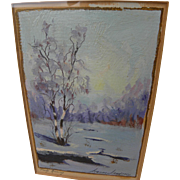 "JEANNE LAURENCE (1887-1980) Alaskan art small painting ""Frosty Morning"" by the wife of famed painter Sydney Laurence"