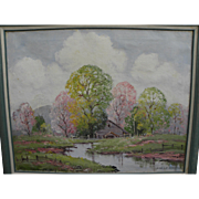 ERNEST FREDERICKS (1877-1959) impressionist spring landscape painting by well listed Midwest artist