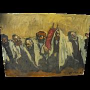 ADOLF ADLER  (1917-1996) Jewish art painting of Simchat Torah celebration by noted Romanian Jewish artist