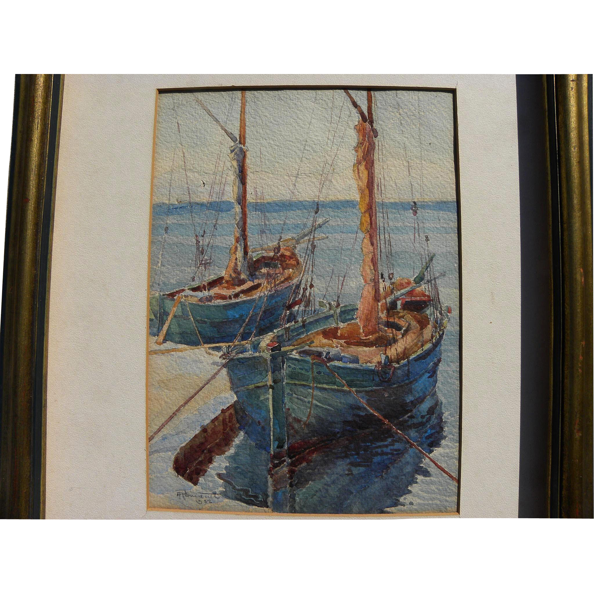 Detailed 1932 watercolor painting of boats and rigging signed ROMANET