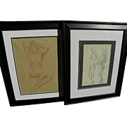 BEN CARRE (1883-1978) **pair** of drawings of nude women by noted stage set designer and Hollywood studio artist