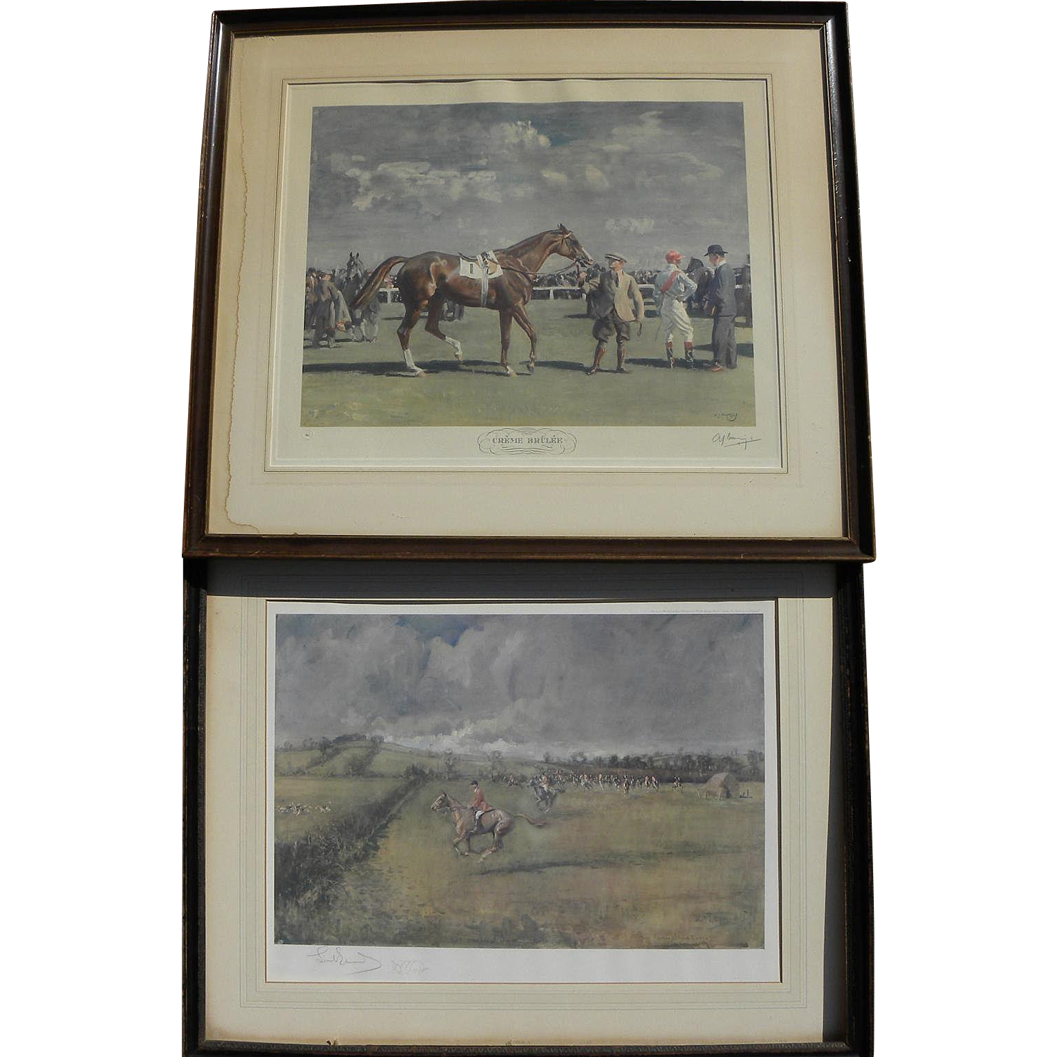 PAIR pencil signed equestrian prints by important English sporting artists A. J. MUNNINGS (1878-1959) and LIONEL DALHOUSIE EDWARDS (1878-1966)