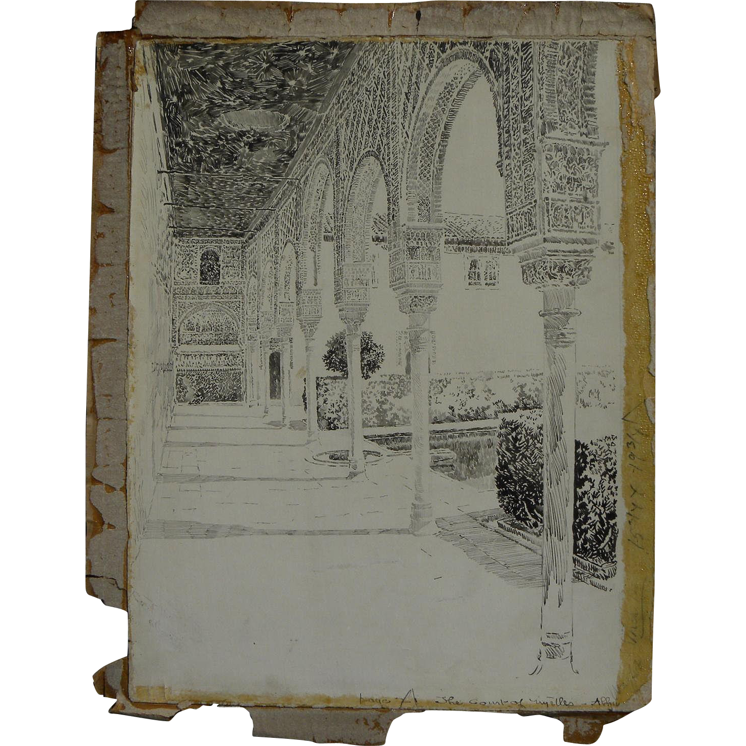 JOSEPH PENNELL (1857-1926) original 1896 published illustration drawing of the Alhambra by famous American printmaker and illustrator