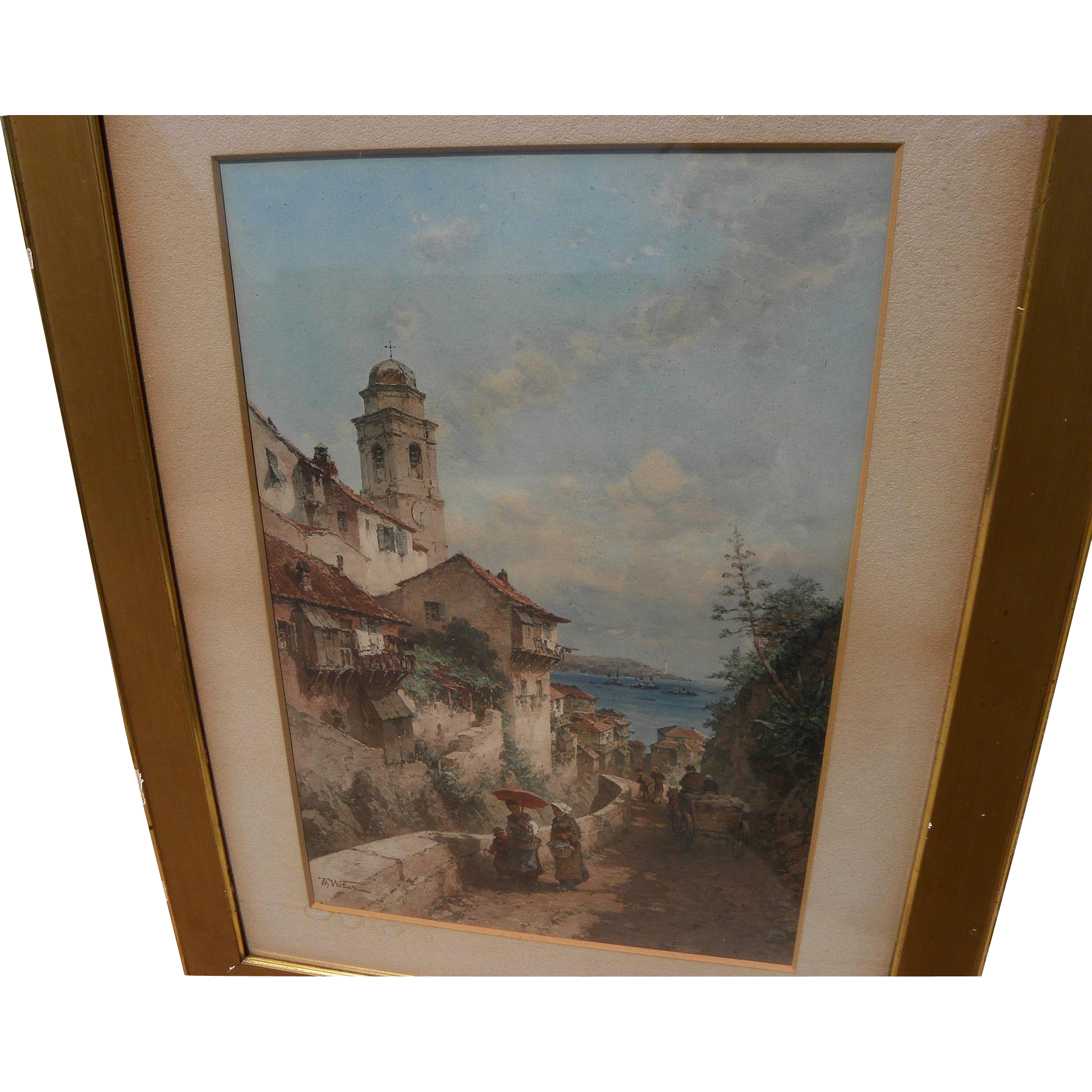 THEODORE WEBER (1838-1907) chromolithograph print after an Italian coastal scene painting