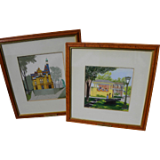 HELEN FEDERICO (1921-2012) **pair** gouache paintings of upstate New York State landmarks by noted illustrator