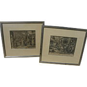 JOHANNES STRADANUS (1523-1605) **pair** copper engravings by noted early Flemish graphic artist