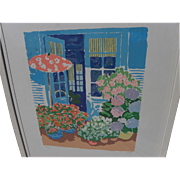 JOHN BOTZ (20th century American) colorful post impressionist hand signed print of a sunny patio by noted artist and designer
