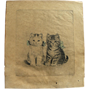 META PLUCKEBAUM (1876-1945) fine drypoint etching by artist known for cat and dog art