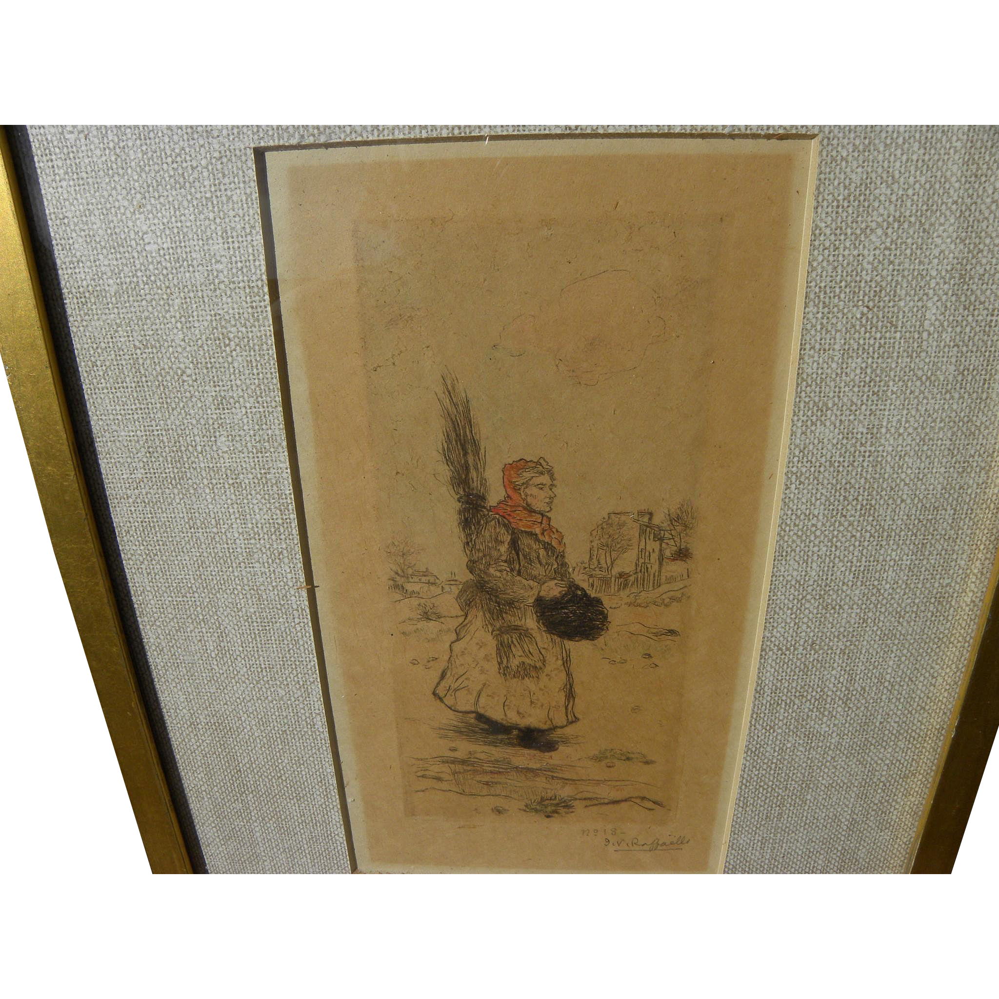 JEAN FRANCOIS RAFFAELLI (1850-1924) pencil signed color etching by important French realist painter