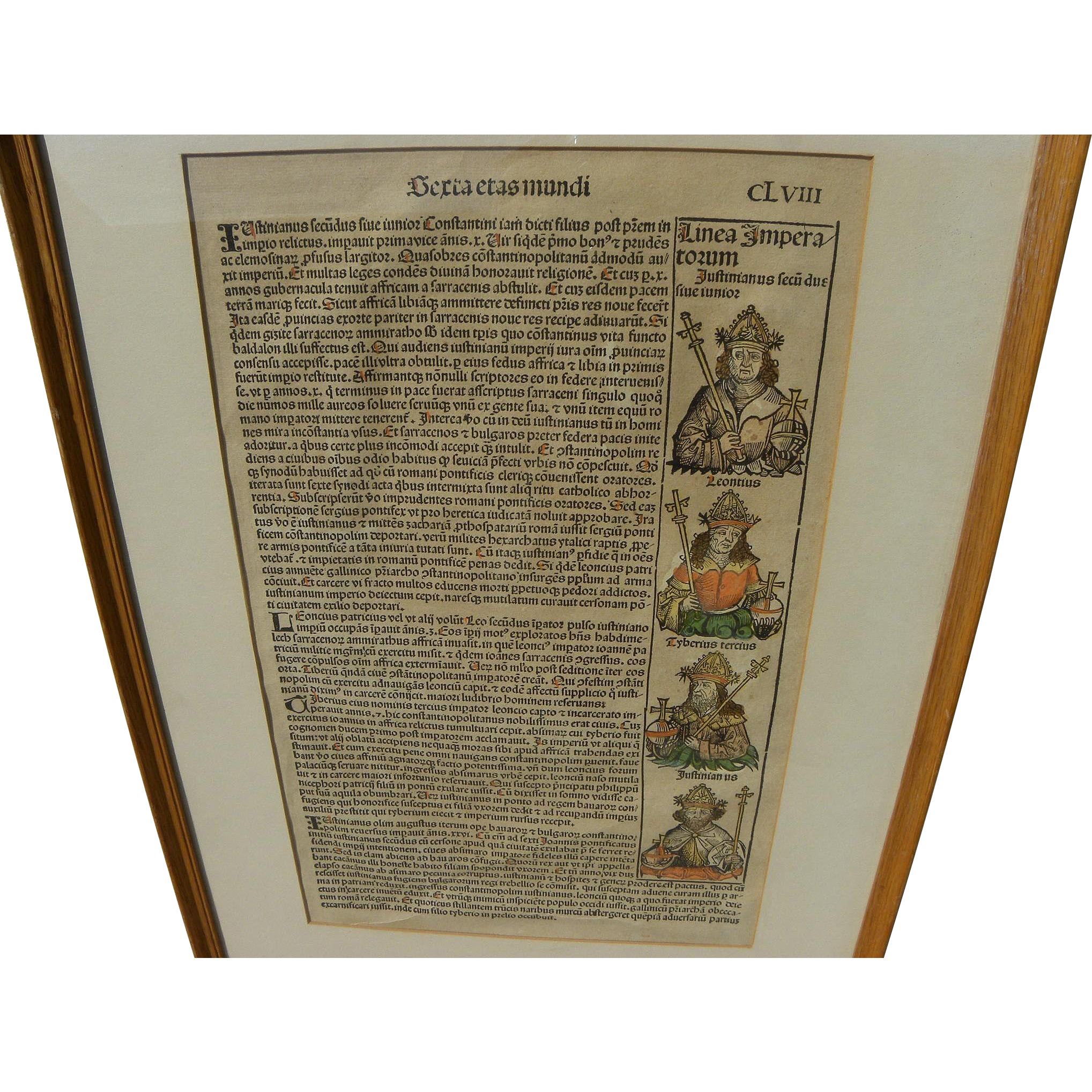 Nuremberg Chronicles original illustrated 1493 woodcut leaf from landmark early printed book