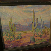 HAZEL LAVINA ROBERTS (1883-1966) listed California artist Southwest desert painting Arizona art