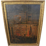 French circa 1900 large impressionist painting of a mob protest in front of government building at night