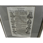 Nuremberg Chronicles original 1493 double-sided leaf including woodcut illustrations from landmark early printed book