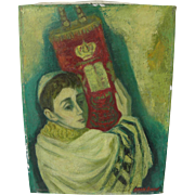 MAX BAND (1900-1974) Judaica painting of Jewish boy holding Torah by School of Paris well listed artist