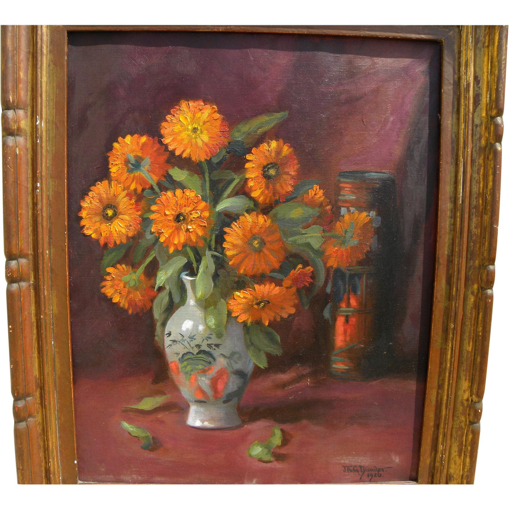 MARTIN DUMLER (1868-1958) floral tabletop still life by listed Cincinnati Ohio artist