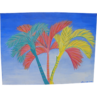 Colorful decorative expressionistic painting of palms ideal for beach house or tropical home