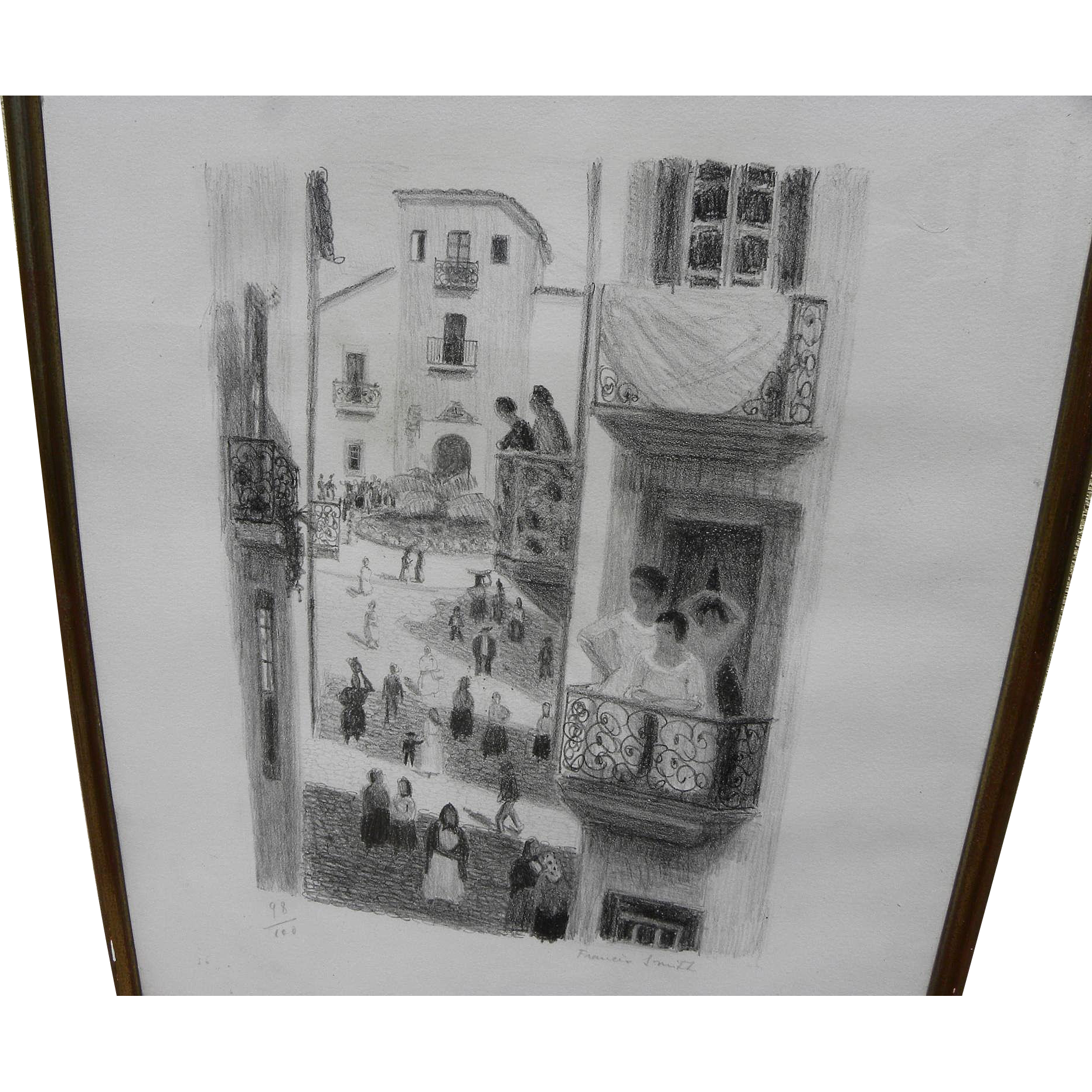FRANCIS SMITH (1881-1961) pencil signed limited edition lithograph of Portuguese street scene by major naive artist