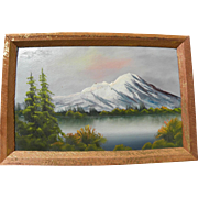 Small vintage landscape painting cabin art