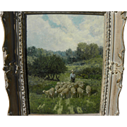CHARLES T. PHELAN (1840-) American art impressionist painting of sheep in a meadow by listed artist