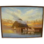 MARJORIE SHARPE (20th century California) plein air luminous painting of sunset over Morro Bay in Central California