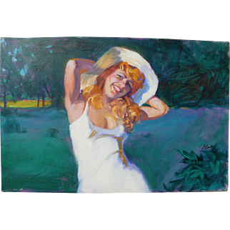 Contemporary Illustration art style painting of a fetching young woman
