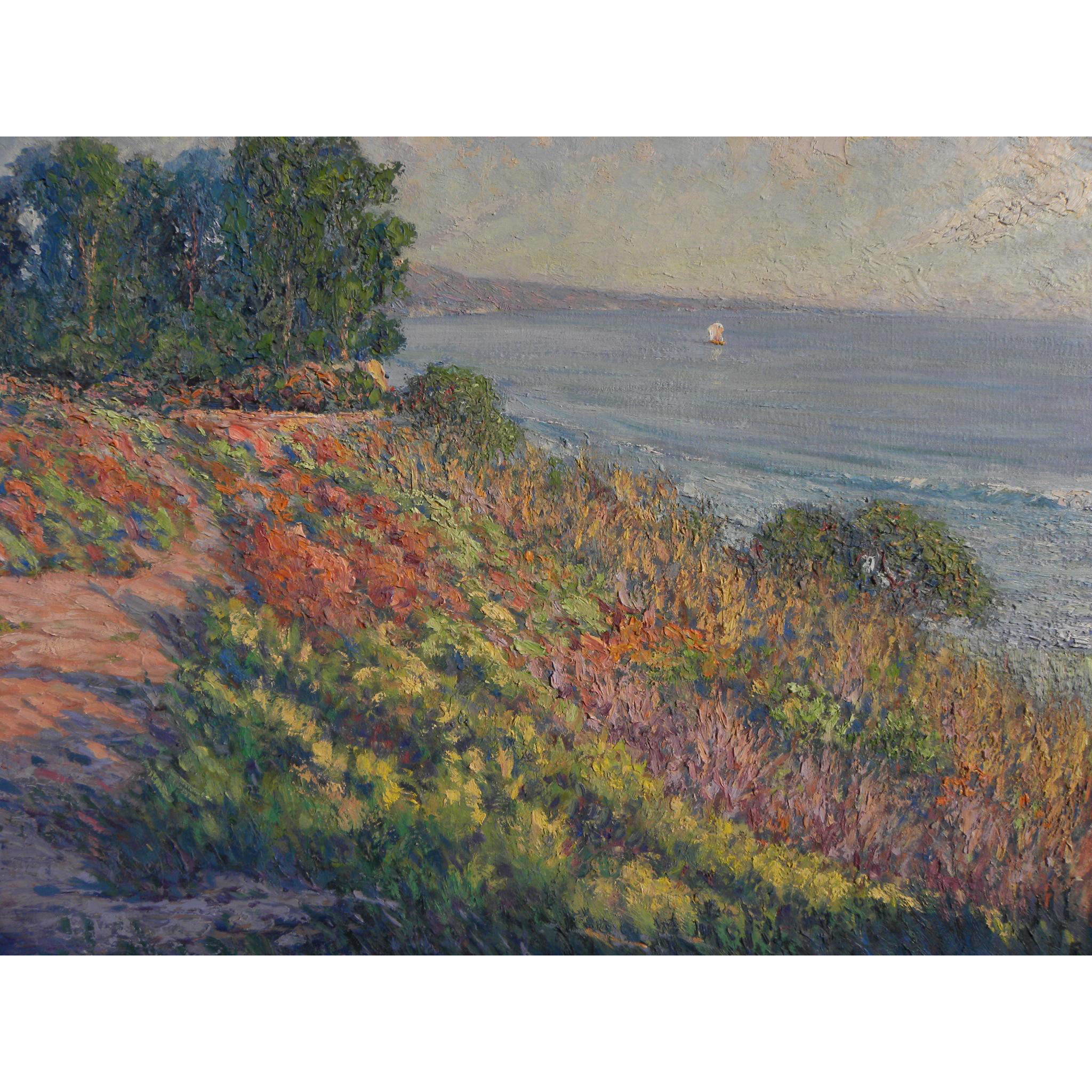 GARY RAY (1952-) impressionist plein air coastal landscape painting by well known contemporary California artist