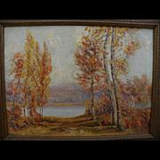 Vintage impressionist autumn landscape painting signed by American artist Isabel Scott