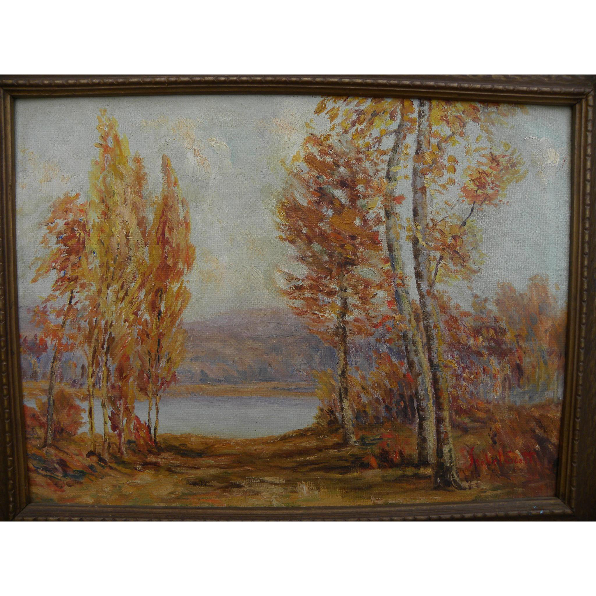 Vintage impressionist autumn landscape painting signed by American artist Isabel Scott