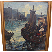 Impressionist harbor painting with figures signed M. Davies