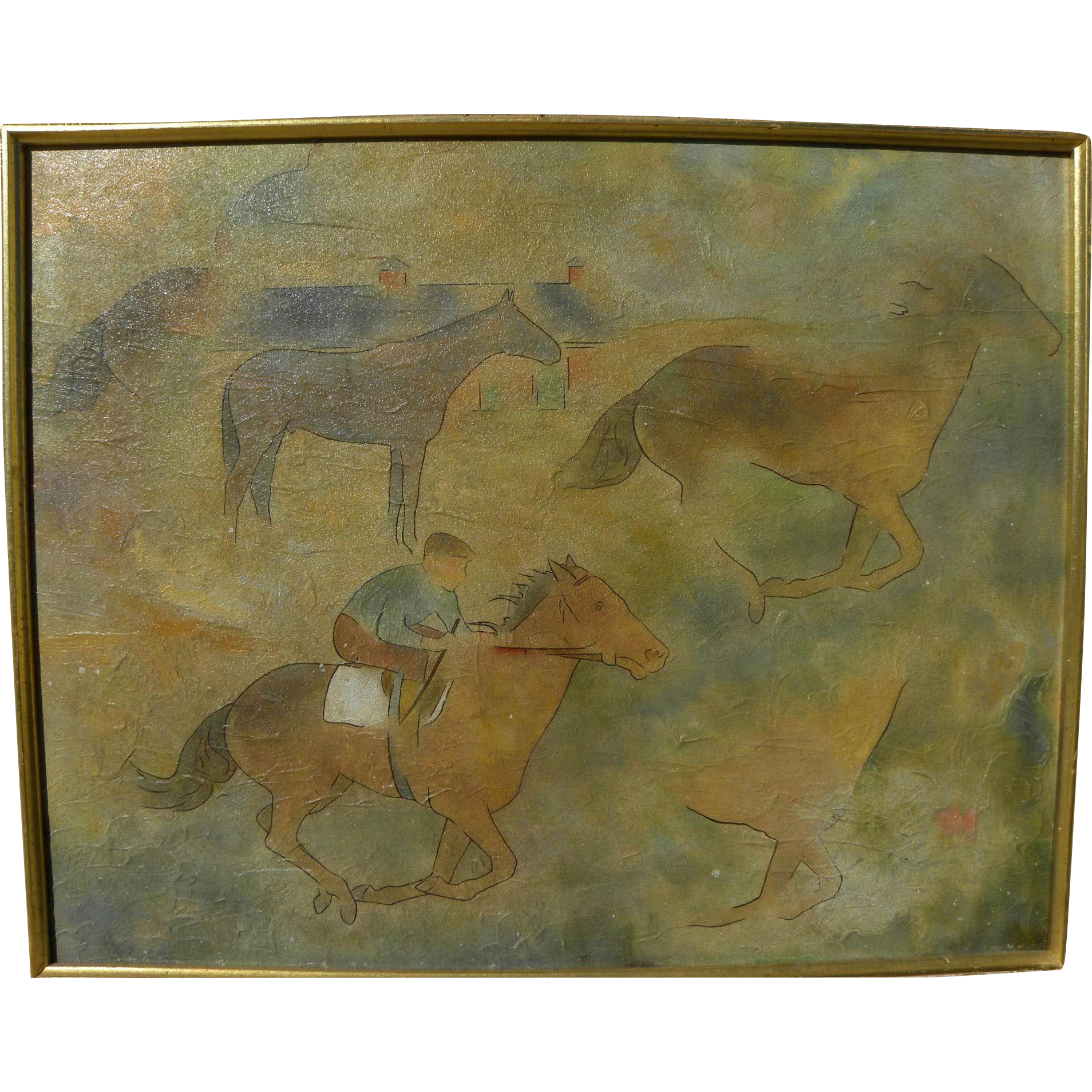 Modernist Cubist 1959 painting of horses signed F. G. Coogan