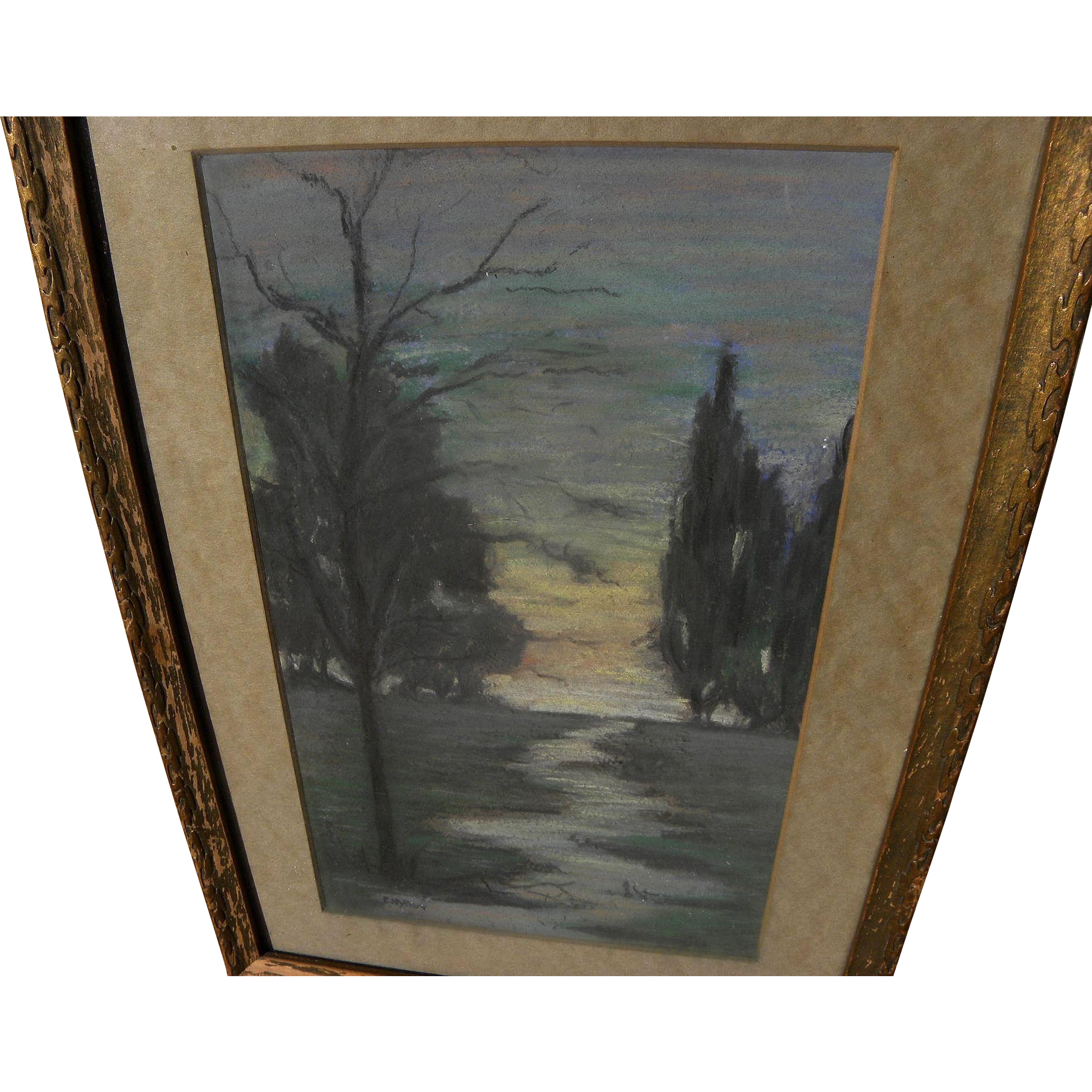 Vintage American signed pastel drawing of a path among trees at sunset